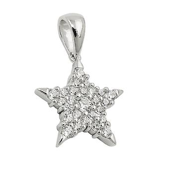 Rhodium-plated pendant with Zircons 17mm Star Silver 925