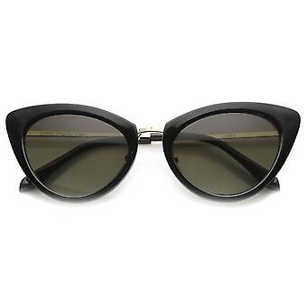 Womens Classic Oval Shape Metal Temple Mod Fashion Cat Eye Sunglasses