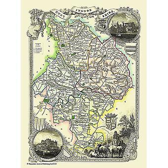 Karte von Huntingdonshire 1836 durch Thomas Moule 1000 Stück Jigsaw Puzzle (Jhg)