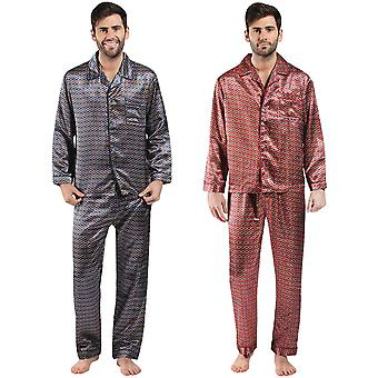 Harvey James Mens Satin Classic Buttoned Lightweight PJs Pyjamas Set Nightwear