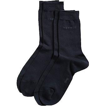 Esprit Basic Fine Knit Mid-Calf 2 Pack Socks - Marine Navy