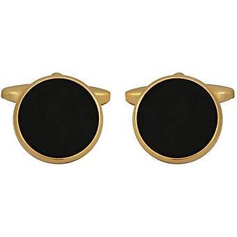 David Van Hagen pozłacane Onyx okrągłe spinki do mankietów - Black/Gold