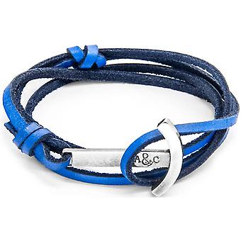 Anchor and Crew Clipper Silver and Leather Bracelet - Royal Blue