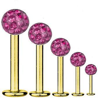 Labret Bar Tragus Piercing Gold plattiert Titan 1,6 mm, Multi Kristall Kugel Pink   5-16 mm