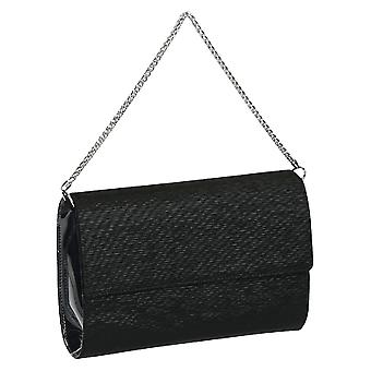Embragues de elegante bolso en negro satinado Made in Italy