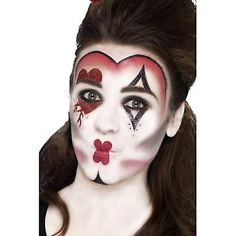 Smiffy's Queen Of Hearts Make Up Kit, With Face Paints,