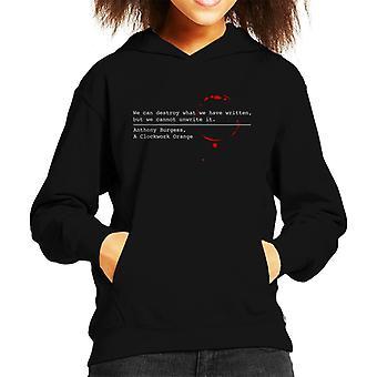 Dystopischen A Clockwork Orange zitieren Kinder Sweatshirt mit Kapuze