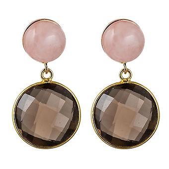 Gemshine mujeres pendientes ahumados cuarzo, piedras preciosas de cuarzo rosa 925 plateado