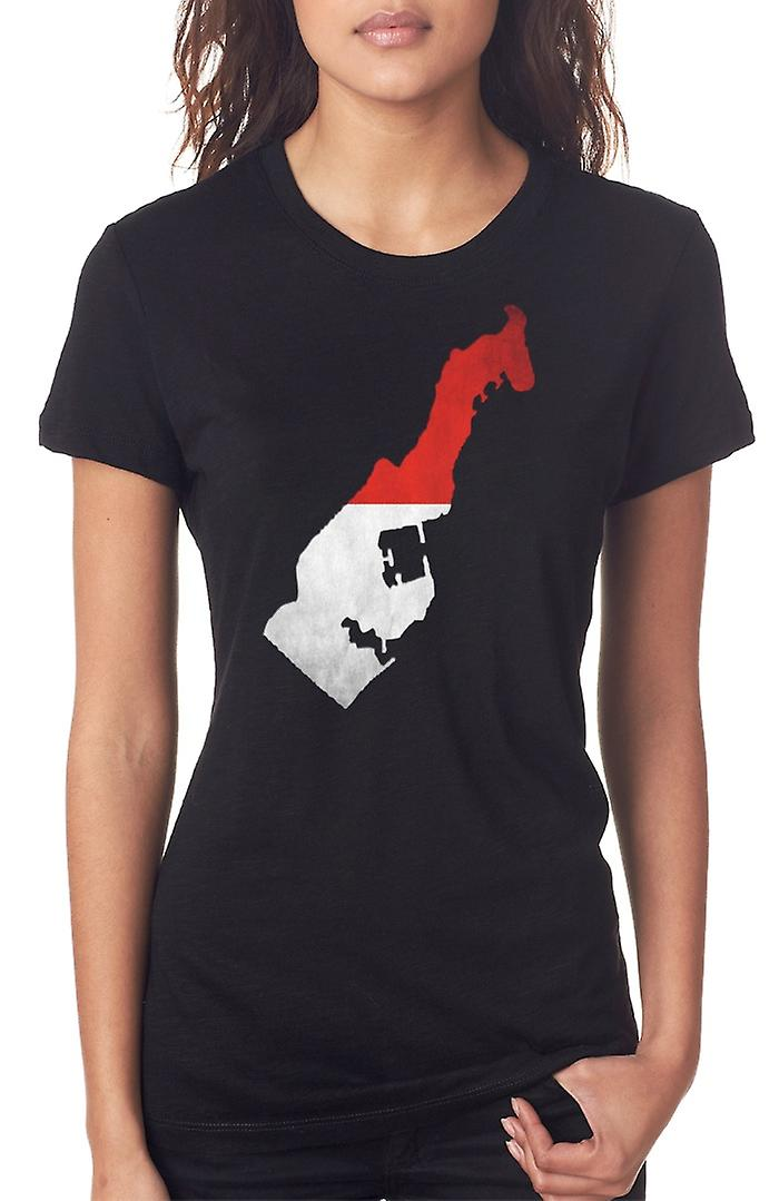 Monaco Flag Map Ladies T Shirt