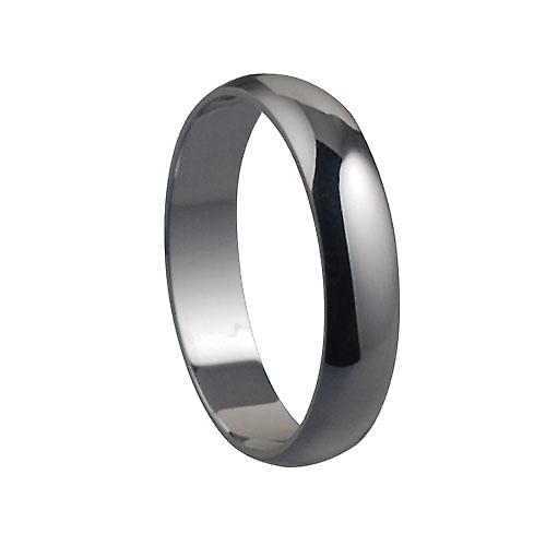 Platinum plain D shaped wedding ring 5mm wide