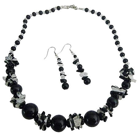 Glass Beads Black & White Cracked Beads w/ Black Pearls Necklace Set