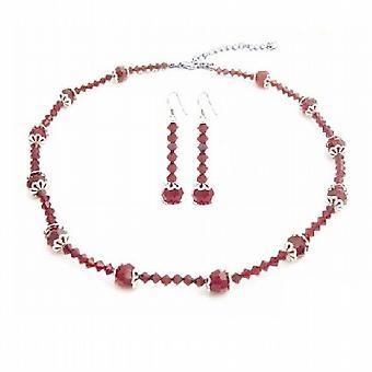 Swarovski Red krystaller med Bali Cap perler kjede sett 8 mm runde perler