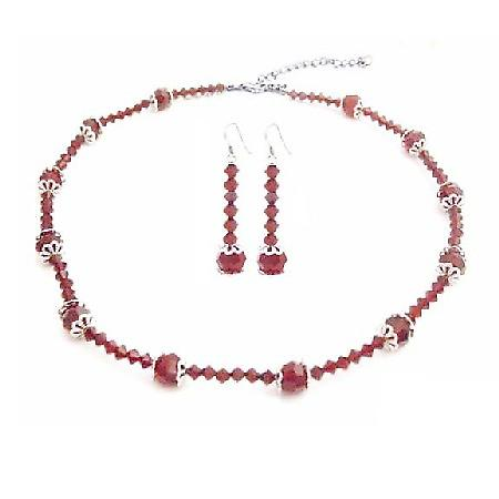 Swarovski Red Crystals w/ Bali Cap Beads Necklace Set 8mm Round Beads