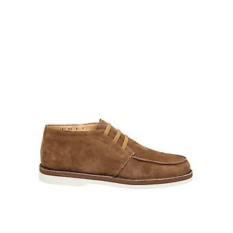 Santoni Brown Suede Lace-up Shoes