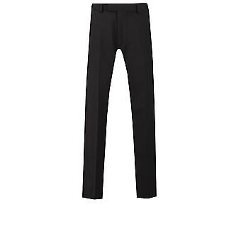 Lambretta Mens Black Formal Trousers Slim Fit Wool Blend