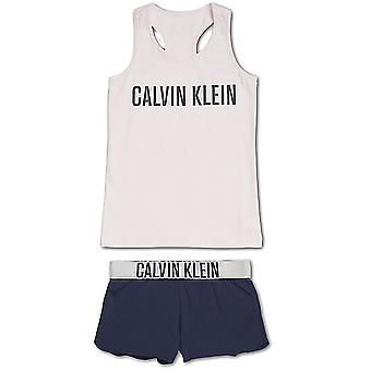 Calvin Klein Girls Intense Power PJ Set, Shrinking Violet  / Blue Shadow, Large