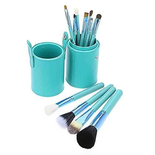 Green Leather Cup 12 Make Up Brushes Cup Set Goat /Pony /Synthetic Hair Aluminium Ferrule Natural Wood Handle