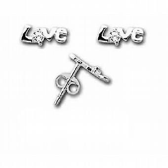 The Olivia Collection Sterling Silver Love Crystal Stud Earrings