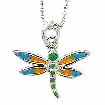 TOC Girls Sterling Silver Dragon Fly Pendant Necklace 15