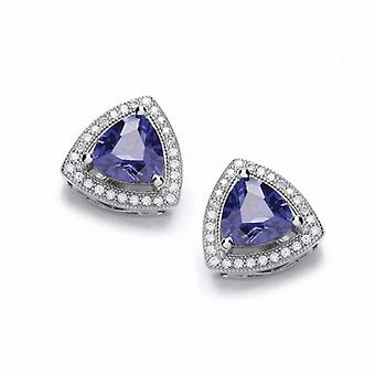 Cavendish French Tanzanite Delight Triangle Stud Earrings
