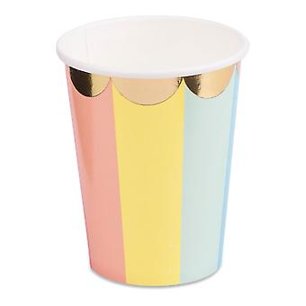 Rainbow Circus Themed Party Paper Cups x 8 Birthday 200ml