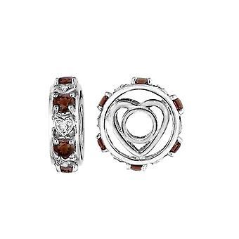 Storywheels Silver & Garnet Heart Wheel Charm S091G
