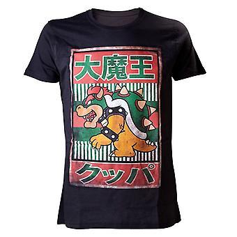 Men's Super Mario Bros. Black Bowser Kanji T-Shirt