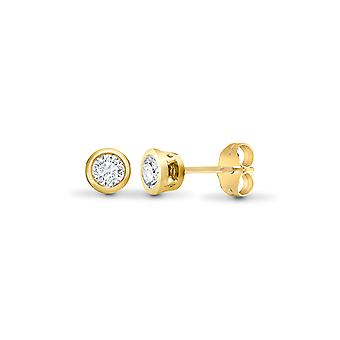 Jewelco London Ladies Solid 18ct Yellow Gold Rub Over Set Round G SI1 0.2ct Diamond Solitaire Stud Earrings