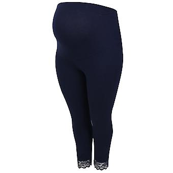 BUMP IT UP MATERNITY Navy Support Cotton Elastane Cropped Leggings