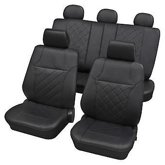 Black Leatherette Luxury Car Seat Cover set For Citroen BERLINGO 1996-2018