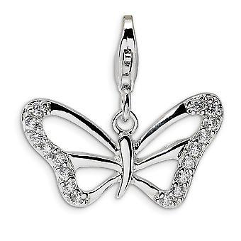 925 Sterling Silber Rhodium-beschichtet Efancy Hummer Verschluss Kubische Zirkonia poliert Schmetterling mit Hummer Verschluss Charme - ich