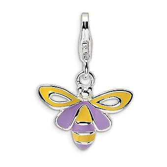 925 Sterling Silver Rhodium-plated Fancy Lobster Closure Enameled Bee With Lobster Clasp Charm - Measures 22x15mm