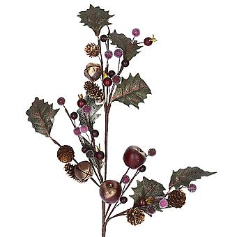 60cm Antique Style Christmas Holly, Berries, Apple & Bells Floristry Stem