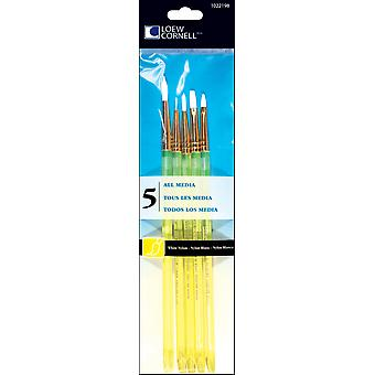 White Nylon Craft Brush Set 5 Pkg 1022198