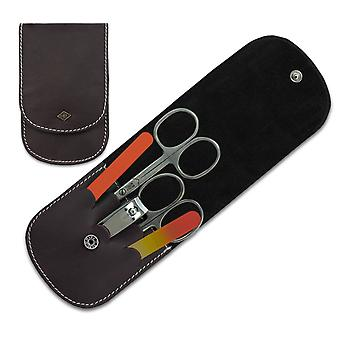 5-Piece German Manicure Set in Brown Leather Case