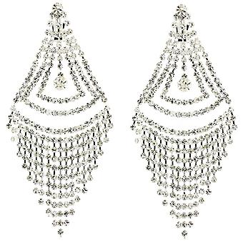 Clip On Earrings Store Long Triangular Chandelier Drop Diamante Crystal Clip On