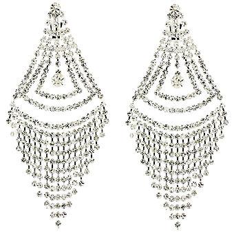 Auf Ohrringe Store langen, dreieckigen Kronleuchter Tropfen Diamante Crystal Clip aufstecken