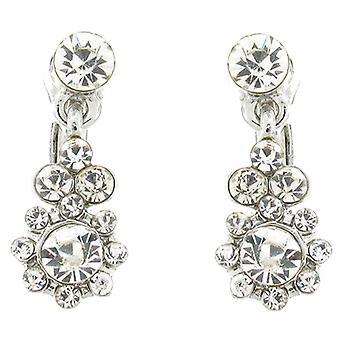 Clip On Earrings Store Silver & Crystal Flower Drop Clip on Earrings