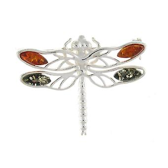 Brocher butik Amber & Sterling sølv Dragonfly broche
