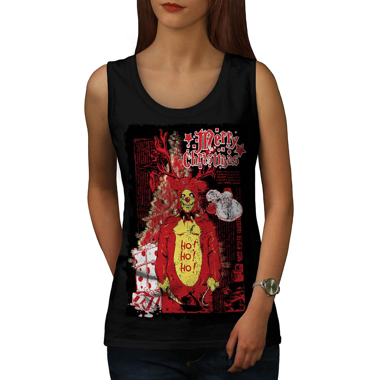 Evil Merry Christmas Reindeer Women Black Tank Top | Wellcoda
