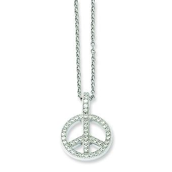 Sterling Silver Pave Rhodium-plated Lobster Claw Closure and Cubic Zirconia Brilliant Embers Polished Peace Necklace - 1