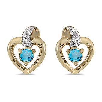 10k Yellow Gold Round Blue Topaz And Diamond Heart Earrings