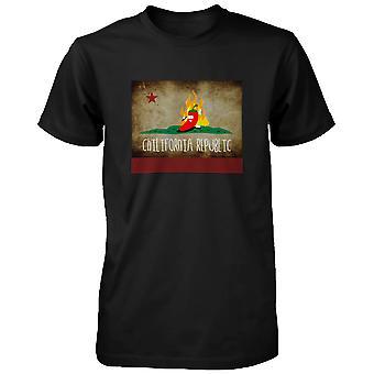 Men's Chilli Chilifornia Republic- Funny Graphic Black T-Shirt