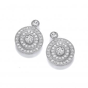 Cavendish French Elegant Silver and Cubic Zirconia Evening Earrings