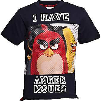 ANGER ISSUES | ANGRY BIRDS MOVIE | Official Licensed | Angry Bird Baseball Style T-Shirt | Age 5-6