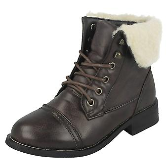 Girls Cutie Lace Up Ankle Boots With Fleece Trim