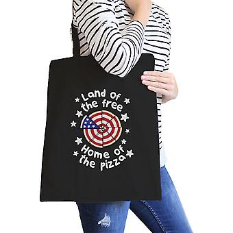 Land of The Free Home 4th of July Canvas Tote Bag For Pizza Lovers