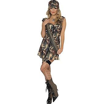 Army girl costume with dress and hat size L