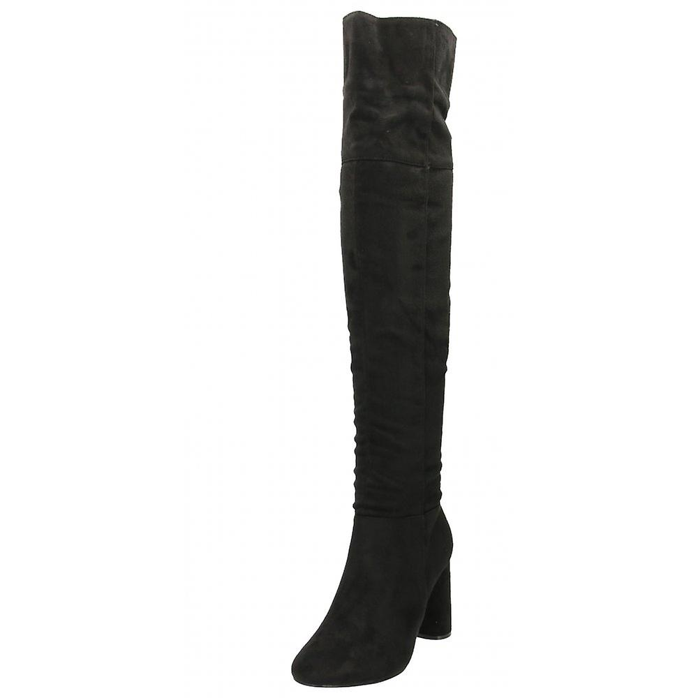 Koi Couture Black Over The Knee Boots Faux Suede Block High Heel