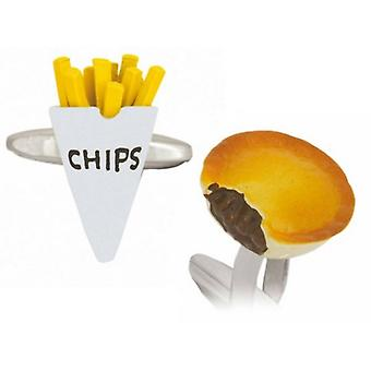 Zennor Pie and Chips Cufflinks - Silver/Yellow